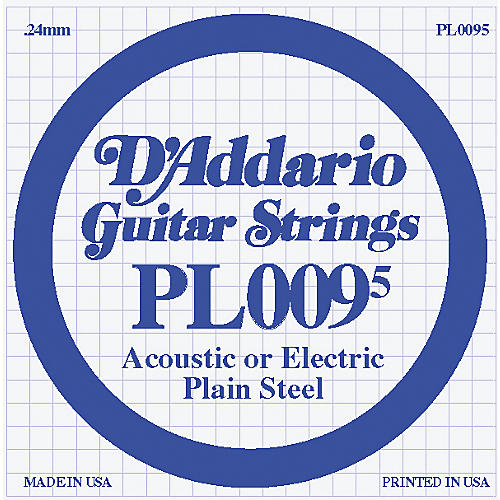 D'Addario 10-Pack Plain Steel Single Gauge Acoustic or Electric Guitar String