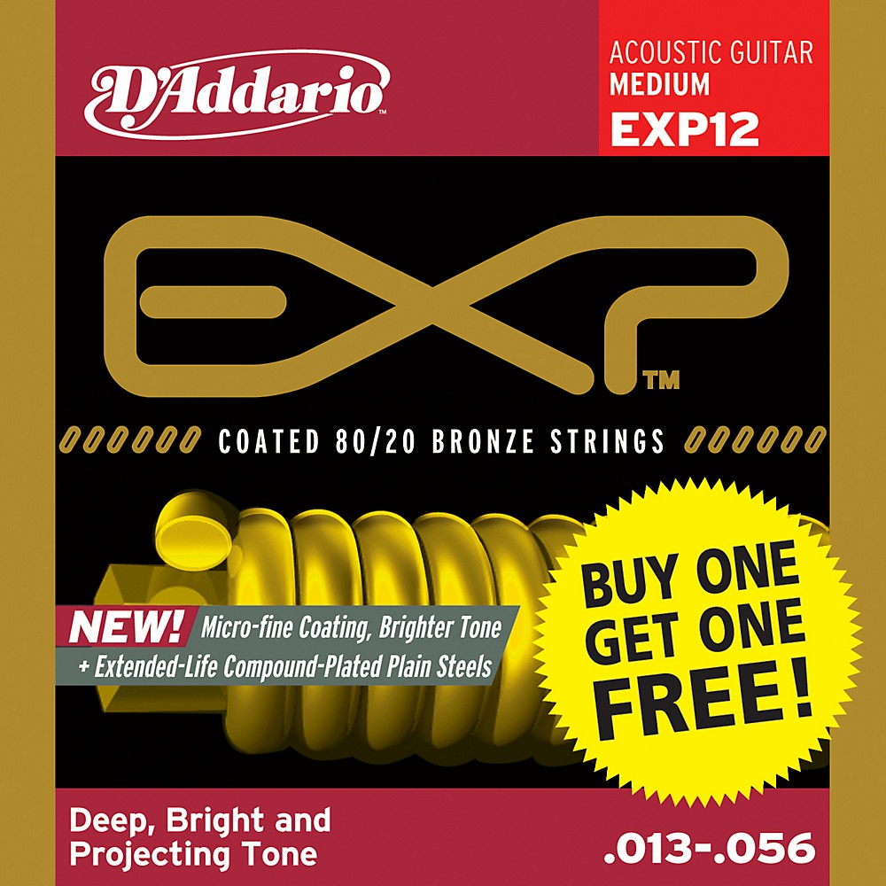 D'Addario EXP12 Coated 80/20 Bronze Medium 6-String Acoustic String Set - Buy One Get One Free 1300744181143