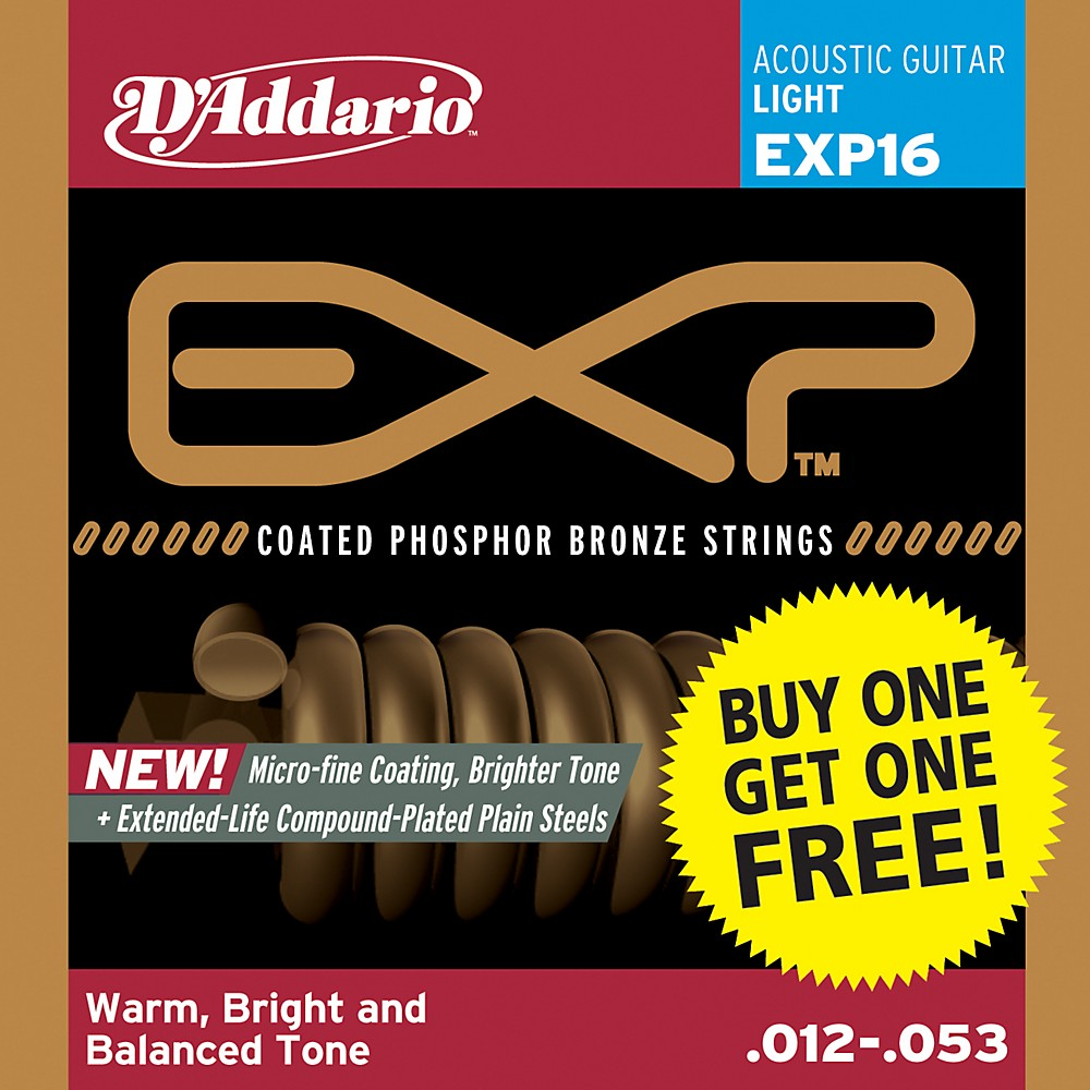 D'Addario EXP16 Coated Phosphor Bronze Light Buy One Get One Free 1300744184701