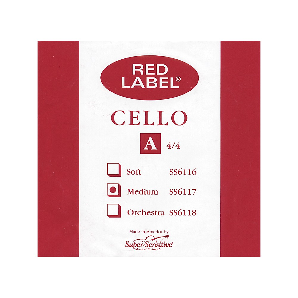 Super Sensitive Red Label Cello A String  4/4 1274228070784
