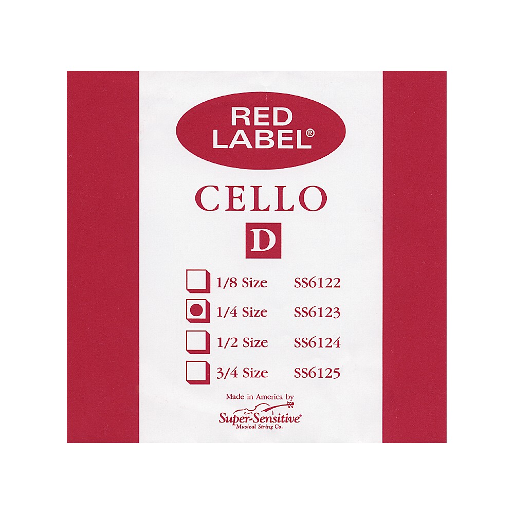 Super Sensitive Red Label Cello D String  1/4 1274228070927