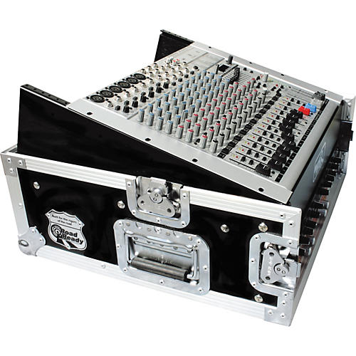Road Runner 10U Slant Mixer Rack, 2U Vertical Rack Black