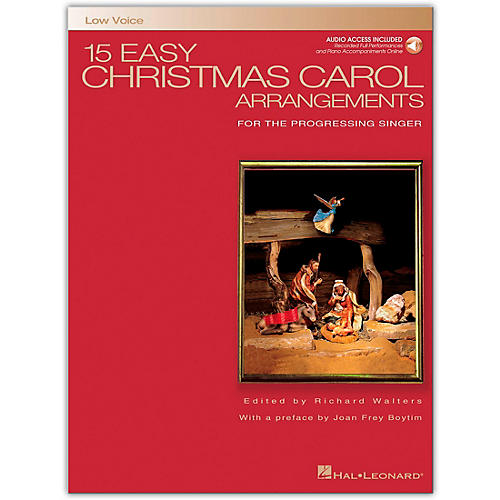 Hal Leonard 15 Easy Christmas Carol Arrangements for Low Voice Book/Online Audio