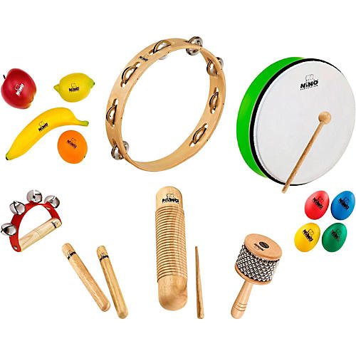 Nino 15-Piece Mixed Small Percussion Set with Tambourine-thumbnail