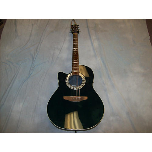 Ovation 1761 STANDARD BALLADEER LEFTY Black Acoustic Electric Guitar-thumbnail