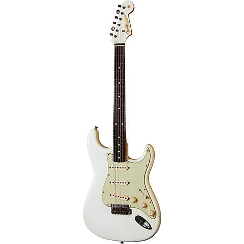 Fender Custom Shop 1960 Stratocaster Relic with Matching Headstock Electric Guitar Olympic White with Matching Painted Headstock Rosewood Fretboard