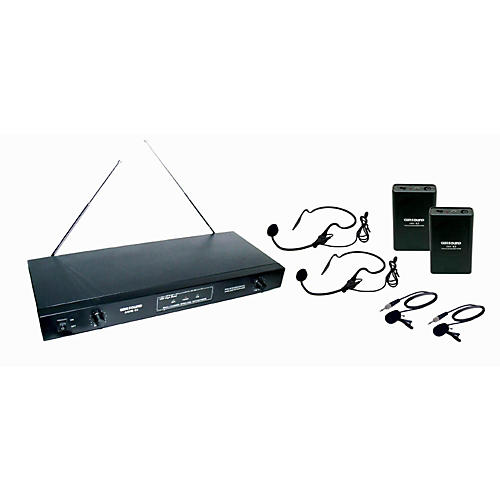 Gem Sound 2-Channel VHF Wireless System with 2 Headsets and 2 Lapel Mics AB
