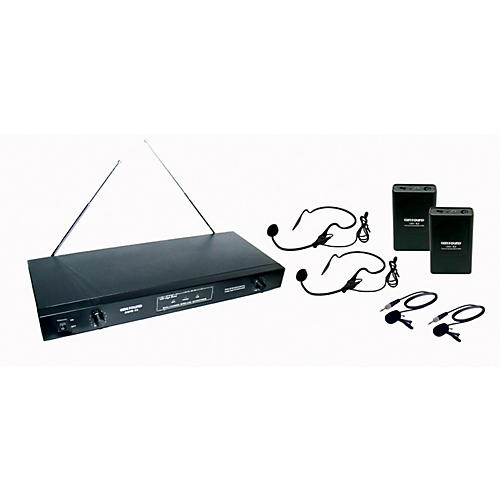 Gem Sound 2-Channel VHF Wireless System with 2 Headsets and 2 Lapel Mics-thumbnail