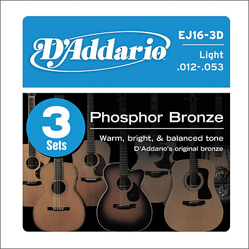 D'Addario 2-EJ16 Acoustic Guitar Phosphor Bronze Light gauge with Free EXP16-thumbnail