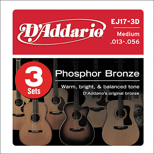 D'Addario 2-EJ17 Acoustic Guitar Phosphor Bronze Medium gauge with Free EXP17