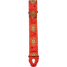 "Road Runner 2"" Red Suns with Locking Ends Guitar Strap"