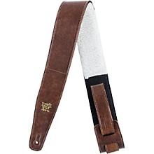 "Ernie Ball 2.5"" Adjustable Italian Leather W/ Fur Pad Guitar Strap"