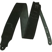 """Franklin Strap 2.5"""" Black Suede Guitar Strap with Silver Stitching"""