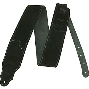 Franklin Strap 2.5 inch Black Suede Guitar Strap with Silver Stitching