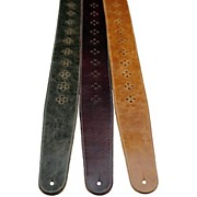 """Perri's 2.5"""" Distressed Leather Guitar Strap with Perforated Vents and Soft Leather Back"""