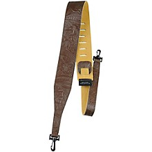 """Perri's 2.5"""" Tooled Western Flower Embossed Leather Banjo Strap with Swivel Hooks"""