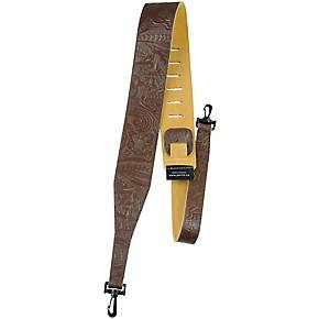 perri 39 s 2 5 tooled western flower embossed leather banjo strap with swivel hooks brown guitar. Black Bedroom Furniture Sets. Home Design Ideas