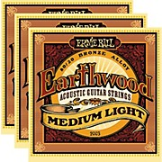 2003 Earthwood 80/20 Bronze Medium Light Acoustic Strings (3-Pack)