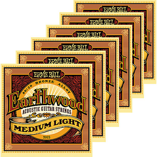 Ernie Ball 2003 Earthwood 80/20 Bronze Medium Light Acoustic Strings 6 Pack-thumbnail