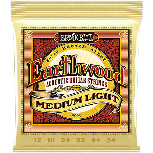 Ernie Ball 2003 Earthwood 80/20 Bronze Medium Light Acoustic Strings-thumbnail