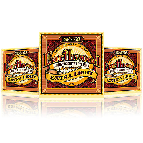 Ernie Ball 2006 Earthwood 80/20 Bronze Extra Light Acoustic Guitar Strings - 3 Pack