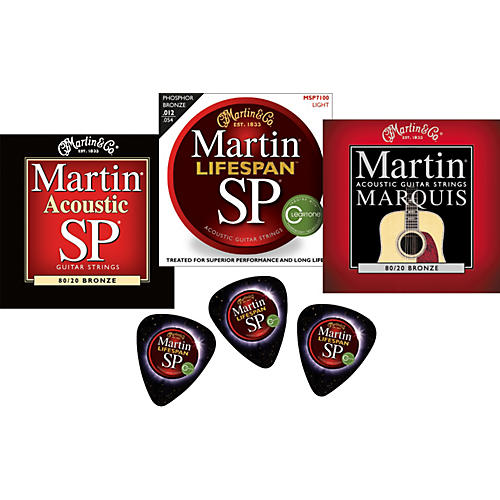 Martin 2011 Sampler 3-Pack Lifespan, SP, and Marquis Acoustic Strings with Free Picks-thumbnail