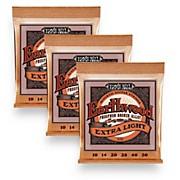 Ernie Ball 2150 Earthwood Phosphor Bronze Extra Light Acoustic Guitar Strings 3-Pack