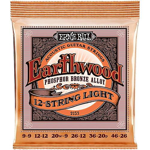 ernie ball 2153 earthwood 12 string phosphor bronze light acoustic guitar strings guitar center