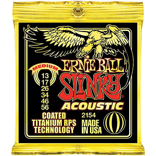 Ernie Ball 2154 Coated Slinky Acoustic Strings Medium 2 Pack