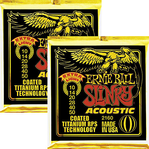 Ernie Ball 2160 Coated Slinky Acoustic Strings Extra Light 2 Pack-thumbnail