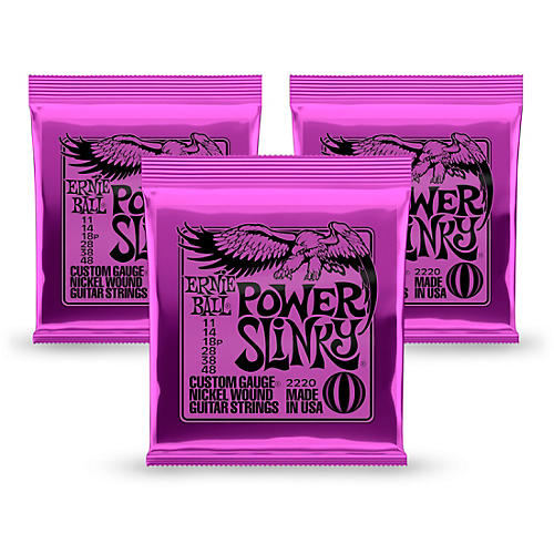 Ernie Ball 2220 Power Slinky Nickel Round Wound Electric Guitar Strings 3 Pack-thumbnail