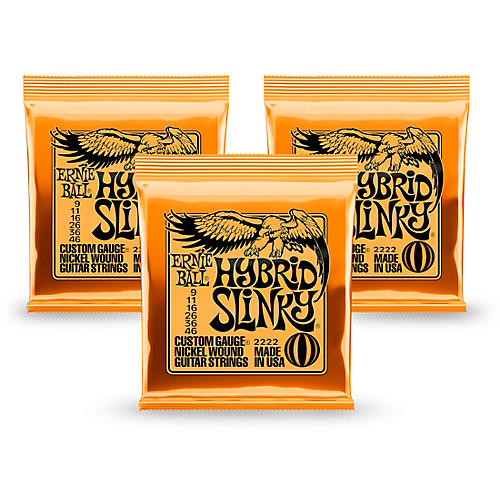 Ernie Ball 2222 Nickel Hybrid Slinky Orange Electric Guitar Strings 3 Pack