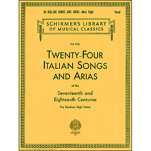 G. Schirmer 24 Italian Songs And Arias for Medium High Voice Book Only-thumbnail