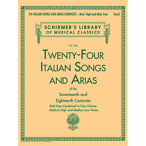 G. Schirmer 24 Italian Songs & Arias Complete - Medium High And Medium Low Voice-thumbnail