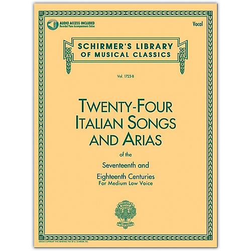G. Schirmer 24 Italian Songs & Arias Medium Low Book/CD