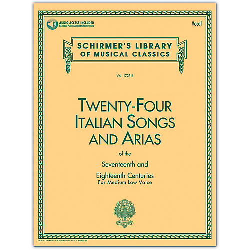 G. Schirmer 24 Italian Songs & Arias Medium Low Book/Online Audio-thumbnail