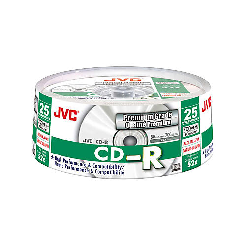 JVC 25-Disc Pack, 52X CD-R, Premium-Grade Silver Lacquer Branded-thumbnail
