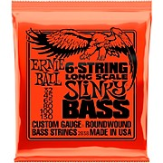 2838 Slinky Nickel Round Wound 6-String Electric Bass Strings