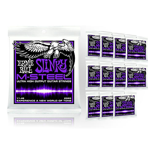 Ernie Ball 2920 M-Steel Power Slinky Electric Guitar Strings - Buy 10, Get 2 FREE