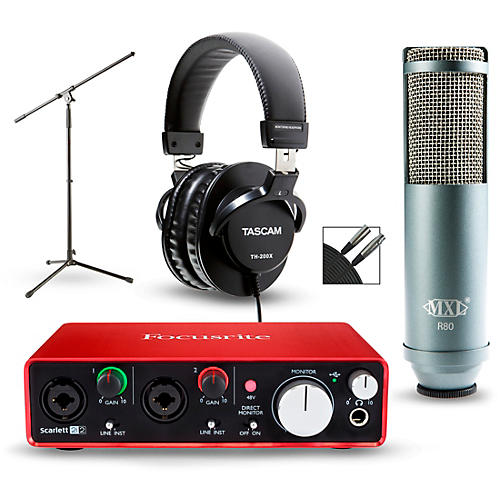 Focusrite 2i2 2nd Gen Interface with MXL R80 and Tascam TH-200X