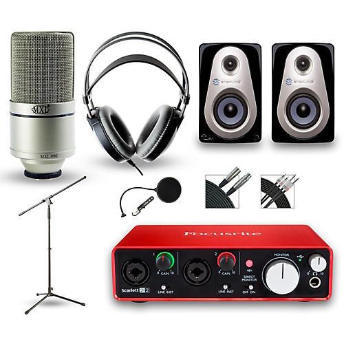 Focusrite 2i2 Recording Bundle With MXL 990 And Akg M80MkII Headphones
