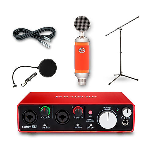 Focusrite 2i2 Recording Bundle with Blue Spark Mic and Accessories