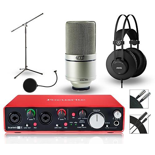 Focusrite 2i4 Recording Bundle with MXL Mic and AKG Headphones-thumbnail