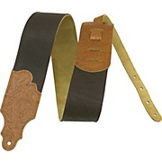 """Franklin Strap 3"""" Chocolate Leather Guitar Strap with Caramel Tooled Ends"""