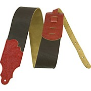 "Franklin Strap 3"" Leather Guitar Strap Black/Red Tooled End"