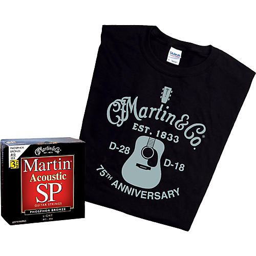 Martin 3-Pack of SP Acoustic Phosphor-Bronze Light Strings (MSP4100) with Free 2009 T-Shirt