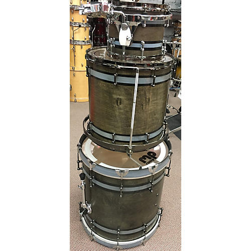 In Store Used 3 Piece Drum Kit Walnut Stain With Grey Stripes Drum Kit-thumbnail