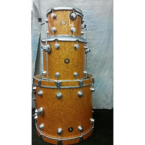DW 3 Piece Jazz Series Maple Gum Wood With Satin Hardware Drum Kit Tangerine Broken Glass Wrap 64