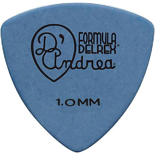 D'Andrea 346 Guitar Picks Rounded Triangle Delrex Delrin - One Dozen Blue 1.0 mm