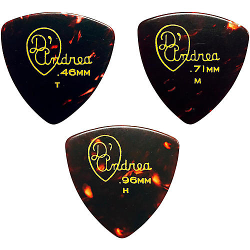 D'Andrea 346 Rounded Triangle Celluloid Guitar Picks - One Dozen-thumbnail
